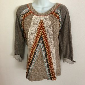 BKE Tribal Over-Size Sweater Lace Tan Sweater S